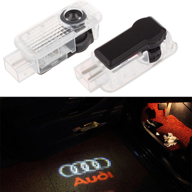 2pcs LED Car door welcome light courtesy led car laser projector Logo Ghost Shadow Light for Audi Logo power Light factory price 2 pcs auto laser lamp car door welcome lights led car logo projector light original car logo for changan cs35 logo
