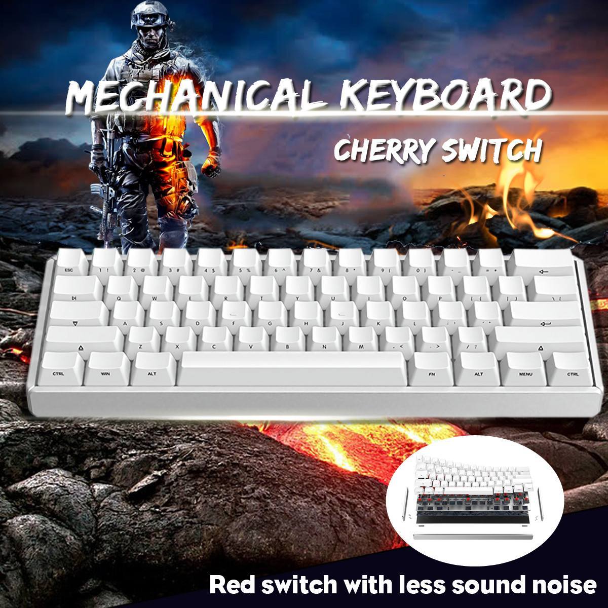 LEORY IQUNIX F60 <font><b>60</b></font>% bluetooth 3.0 Type-C Wired Cherry MX Red Switch PBT <font><b>Keycaps</b></font> Mechanical <font><b>Keyboard</b></font> 295X104X42mm image