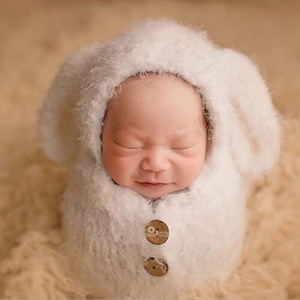 Image 2 - Baby Soft Sleeping Bag Hat Set Baby Girls Photo Shooting Clothes Newborn Photography Props Crochet Infant Outfits Photo Props