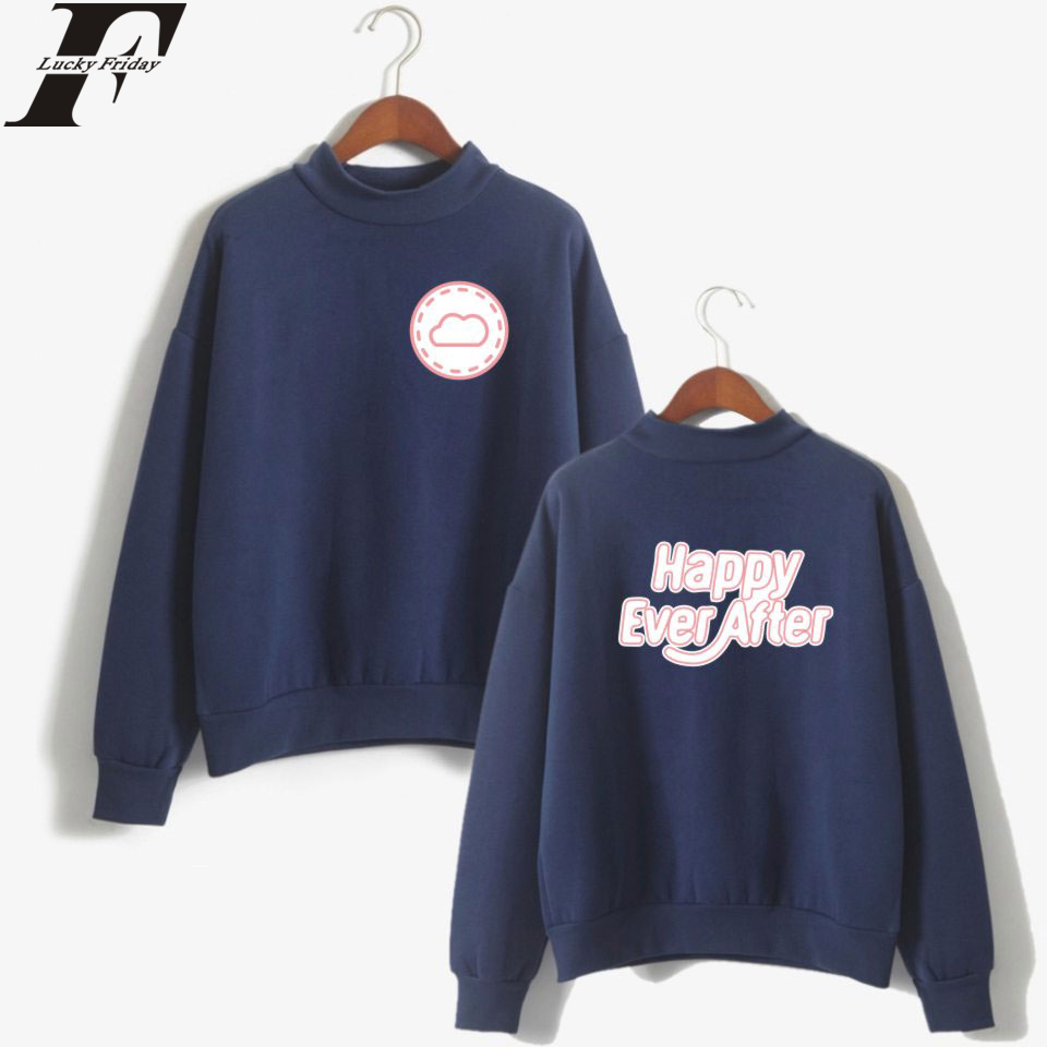 BTS Kpop Happy Ever After Turtlenecks Sweatshirts Hoodies Women/Man Casual Style Print Tracksuit Clothes Plus Size 4XL For Sale