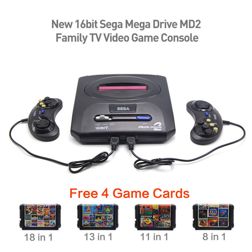 16bit Sega Mega Drive MD2 Family Free 4 Game Cards New TV Video Game Console Player