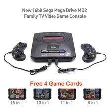 16bit Sega Mega Drive MD2 Livre 4 Cartões de Jogo Da Família Nova TV PAL saída de Vídeo Game Console Jogador do jogo Retro