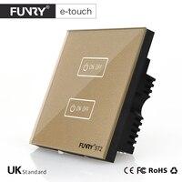 FUNRY ST2 UK Afstandsbediening Touch Switch 2Gang 1 Manier Zwart Glas Panel Slimme Schakelaar Voor Domotica
