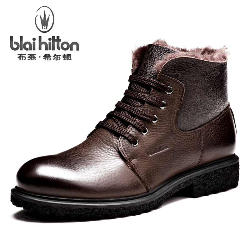 Blai Hilton Brand 100% Genuine Leather Snow Boots Men Shoes Winter Warm Faux Fur Velvet Cow Military Motocycle Boot Male muhuisen brand genuine leather snow boots men casual shoes winter warm plush fur cow leather male ankle boot