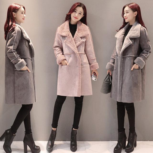 2018 New Lambs Wool Coat Winter Jacket Women Plus Velvet Thicken Long Coat Fashion Parkas Women's Clothing Chaquetas Mujer C3590 3