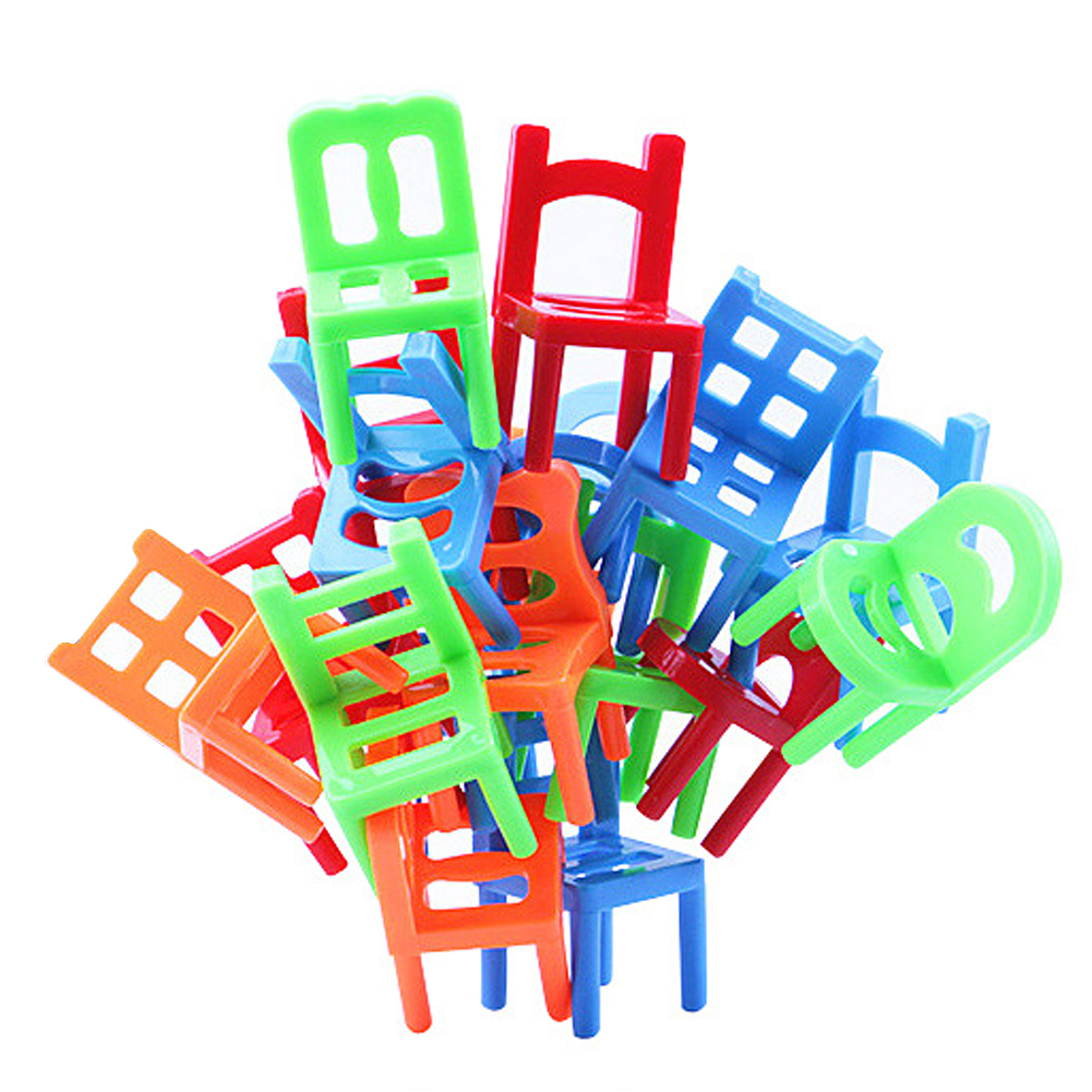 18pcs/set Plastic Balance Toy Stacking Chairs For Kids Desk Play Game Toys Parent Child Interactive Party Game Educational Toy 2 styles kids funny wall demolish game humpty dumpty s wall game parent child interactive game for children edaucational toys