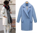 UK 2017 Autumn Winter Classic Simple Women Oversized Woolen Tweed Coat and Jacket Nibbuns Overcoat casaco feminino Manteau femme
