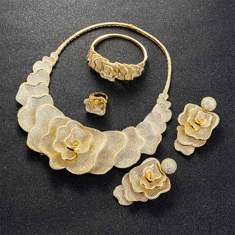 Image 4 - Viennois Gold / Silver / Mixed Color Necklace Set For Women Flower Dangle Earrings Ring Bracelet Set Party Jewelry Set 2019-in Jewelry Sets from Jewelry & Accessories