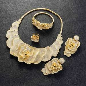 Image 4 - Viennois Gold / Silver / Mixed Color Necklace Set For Women Flower Dangle Earrings Ring Bracelet Set Party Jewelry Set 2019