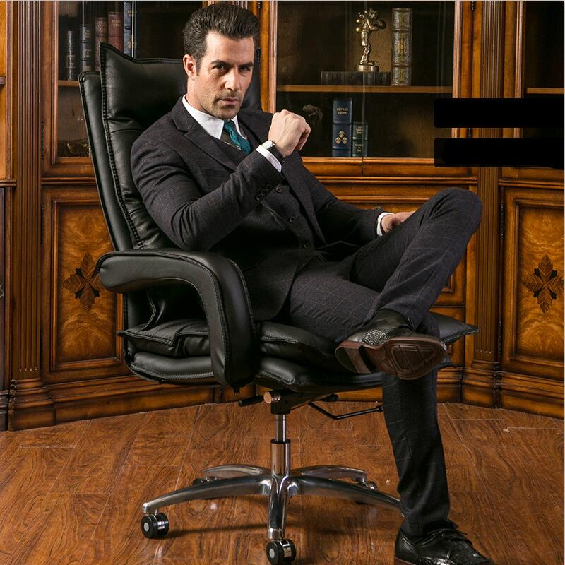 Home computer chair swivel chair boss Genuine leather office chair high chair seat lifting staff computer chair home office chair mobile no handrail small lift swivel chair mesh staff chair