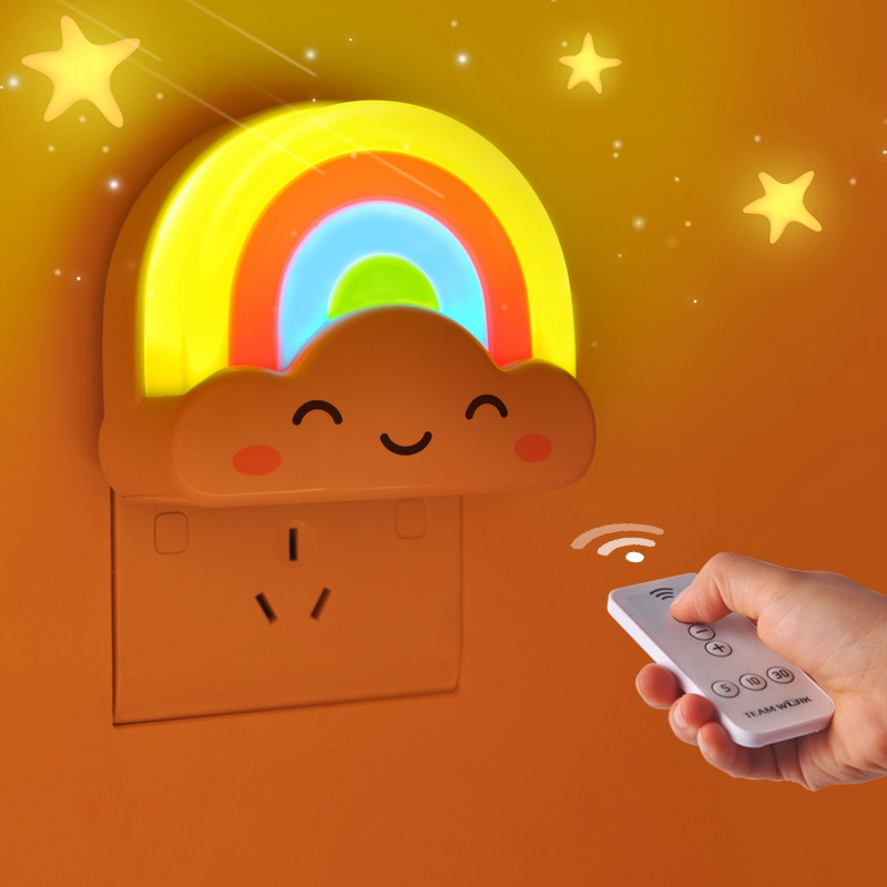 LED Night Lights Light/Sound/Remote Control Baby Night Light Rainbow Toddler Nightlight For Kids Sensor Home Decoration