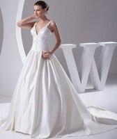 5f8d50b3b1cba Sexy V Neck Wedding Dresses 2019Chapel Train Bridal Gowns Ivory Satin  Vestido Noiva Princesa. US $195.00 US $165.75. Seksi V Yaka Gelinlik 2019  Şapel ...