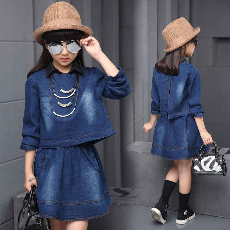 Girl Denim Dress Suit 2017 Spring and Autumn New Girls Fashion Casual Denim Dress Two-piece Suit Big Virgin Child Foreign Direct men s spring fashion casual sport print hood sweatshirts trousers two piece suit