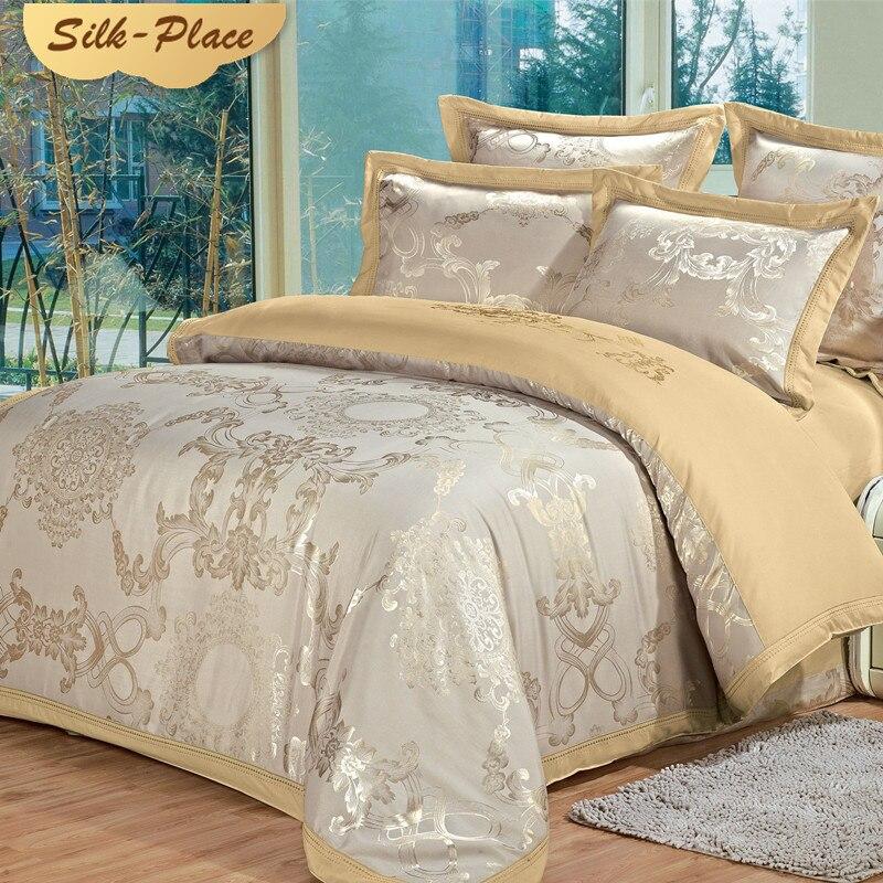 Soie PLACE famille russe Europe taille housse de couette ensemble de literie sur la ligne de lit taies d'oreiller de haute qualité meilleur ami cadeau de mariage