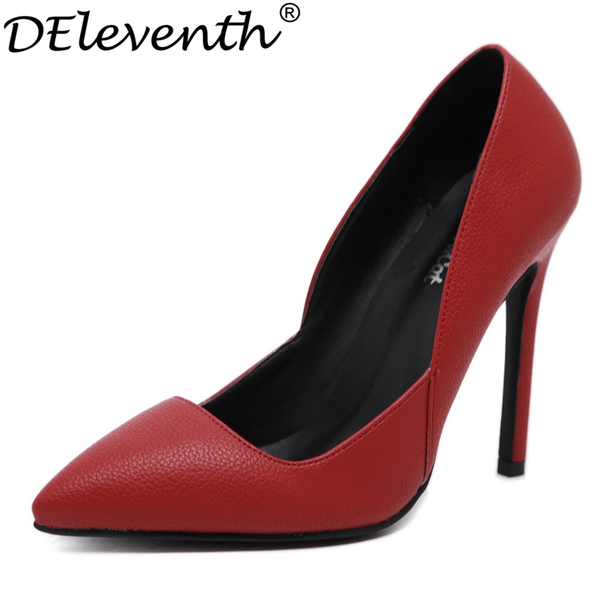 1b6b13452cb4 2016 Autumn Concise New High Heels Elegant Pointed Toe Office Lady Shoes  Women Solid Special Design OL Snakeskin Pumps Wedding-in Women s Pumps from  Shoes