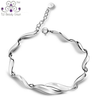 Real Solid 925 Pure Silver Fashion Elegant Women S Chain Link Bracelets Wholesale Retail Fashion Jewelry