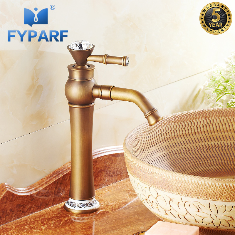 FYPARF Bathroom Faucet Single Handle Hole Bathroom Basin Faucet Cold and Hot Water Taps Antique Brass Bathroom Mixer Water Taps basin faucet split faucet soft jade gold brass made cold hot switch double handle bathroom shower room three hole mixer taps