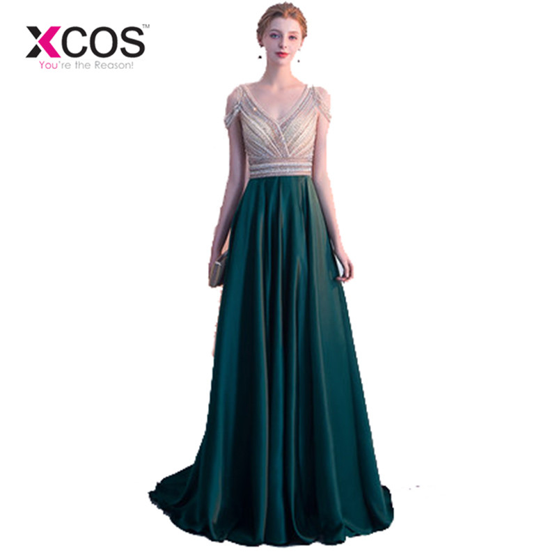 8ed93326b66f7 XCOS Cap Sleeves Beads Elegant Dark Green Prom Dresses 2018 New ...