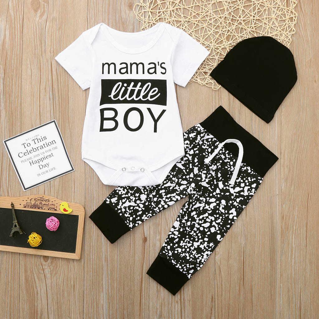 Комплект одежды из 3 предметов для новорожденных и маленьких мальчиков, комбинезон с буквенным принтом + боди, длинные штаны + черная шляпа, комплект одежды
