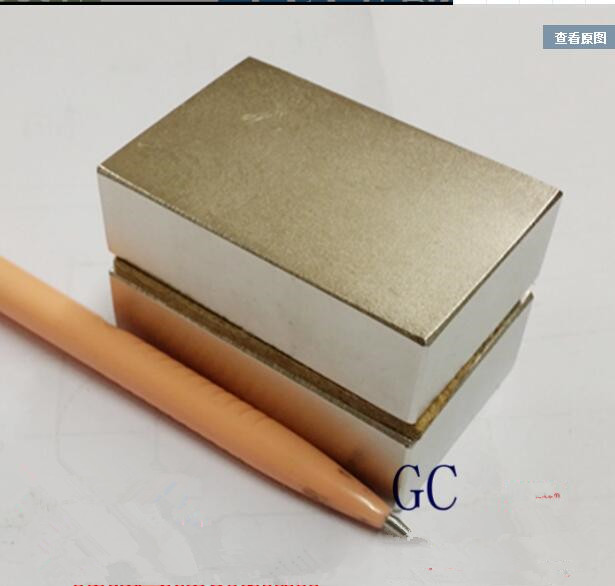 Free Shipping 1PCS NdFeB Block 60x40x20 mm Strong Neodymium Permanent Magnets 60*40*20 Rare Earth Generator Wind Turbine Magnet qs 3mm216a diy 3mm round neodymium magnets golden 216 pcs