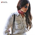 vancol slim long sleeve black line autumn casual white blouse with pocket feminine blouse tops spring women collar shirt 2017