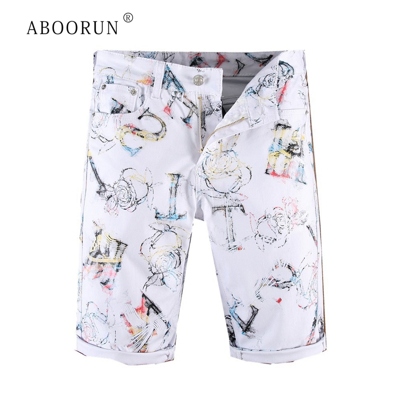 ABOORUN New Summer Mens Denim Shorts White Printed Casual Jeans Short Slim Fit Shorts For Male R1388