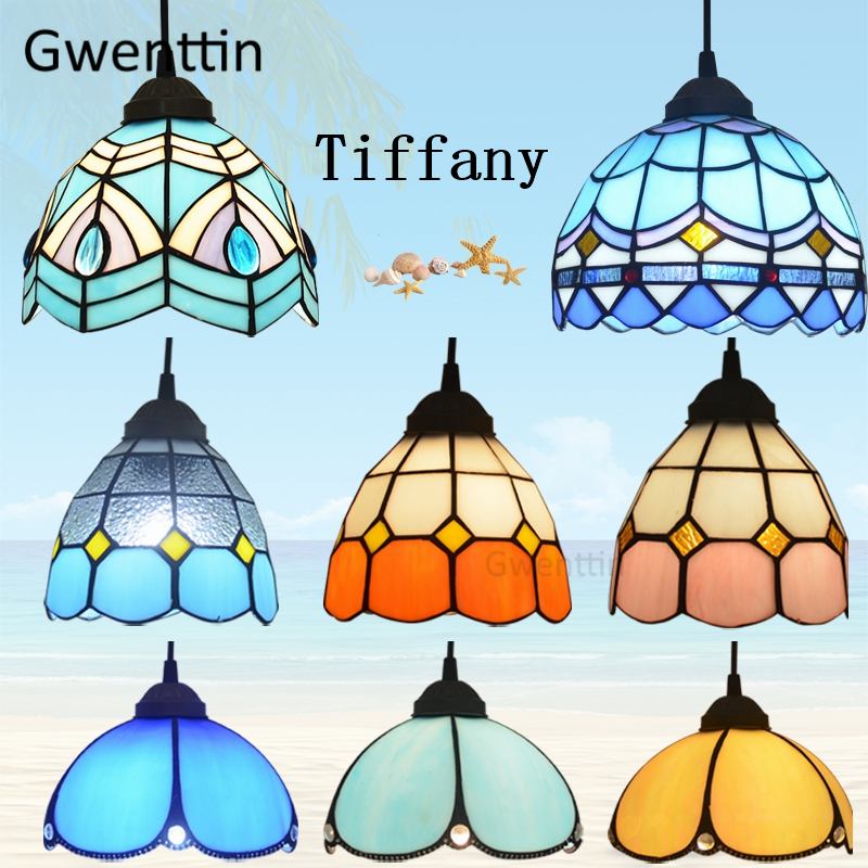 Mediterranean Tiffany Stained Glass Pendant Lights Vintage Hanging Lamp Led Hanglamp for Home Deco Living Room