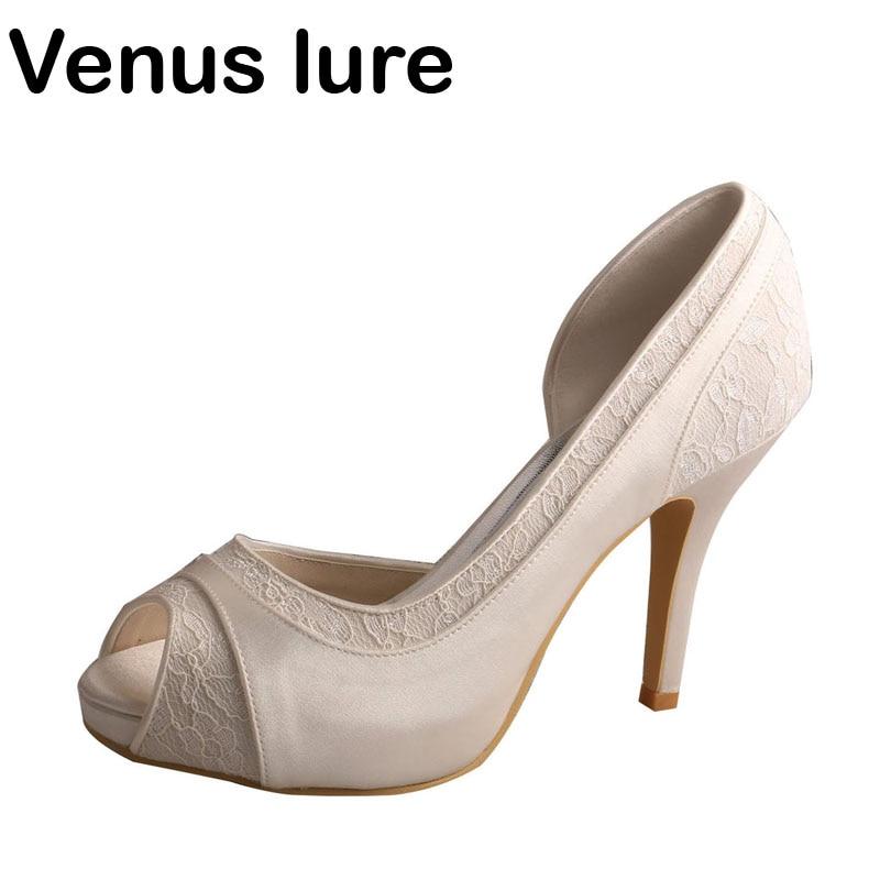 Venus lure Custom Handmade Lace and Satin Open Toe High Heel Wedding Shoes Bridal Ivory cut out pink satin ivory lace wedding peep toe kitten heel bridal shoes mary jane