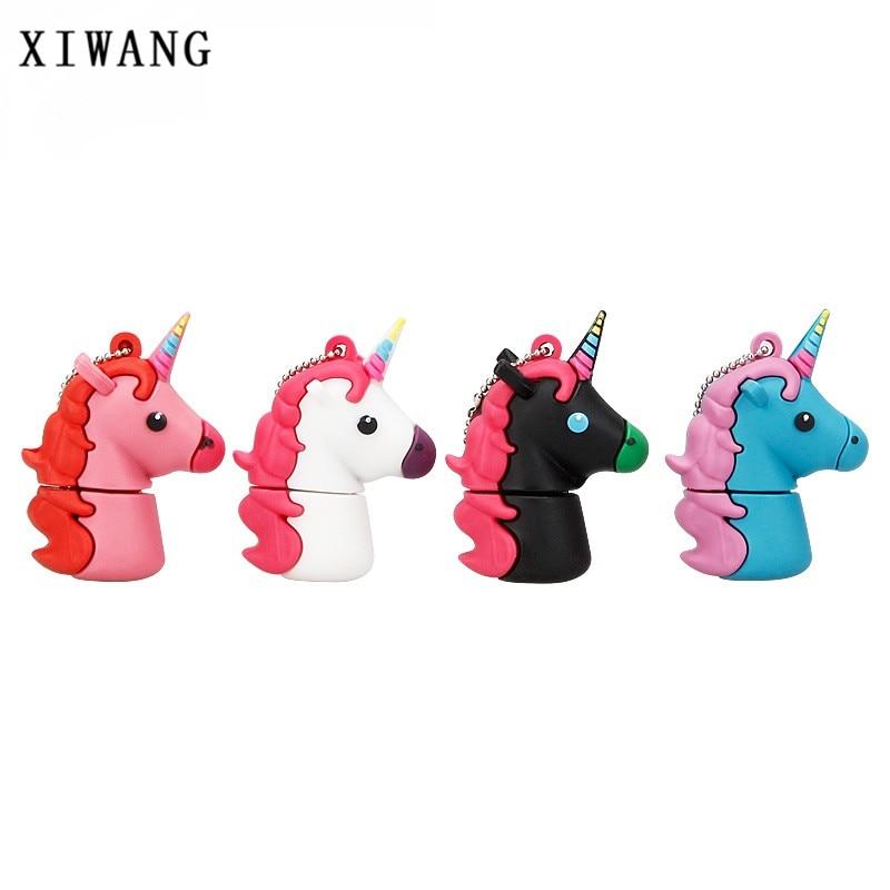 New Cartoon Unicorn Usb Flash Drive 128gb Usb 2.0 4G 8G Pendrive 16G Pen Drive 32G 64GB Cute White Horse Best Gift Free Shipping