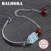 BALMORA Solid 925 Sterling Silver Enameling Chinese Character ''XI'' Bracelet For Women Wedding Gifts Vintage Jewelry SY40388