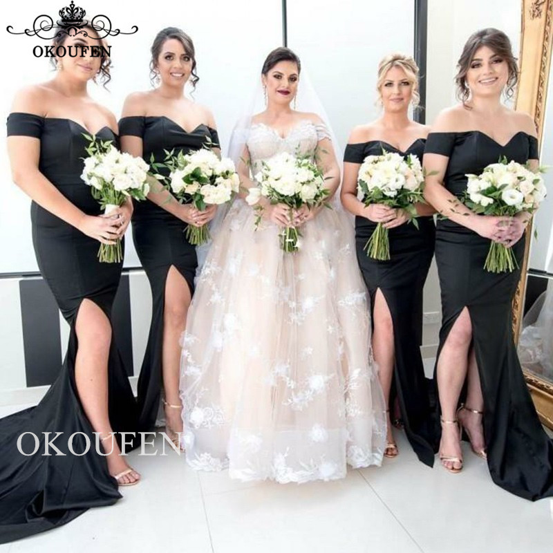 Sexy Off Shoulder Mermaid   Bridesmaid     Dresses   For Women Side Split 2019 Chapel Train Long Party   Dress   Maid Of Honor Gown
