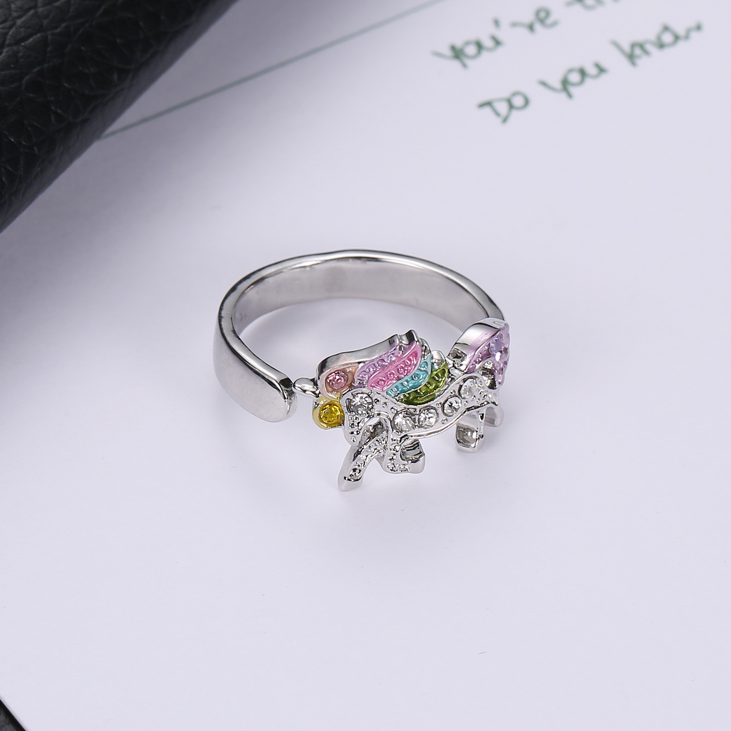 2019 Fashion Cartoon Cute Unicorn Ring Adjustable Alloy Crystal Finger Ring Jewelry For Women Wedding & Engagement Jewelry