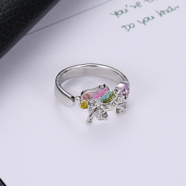 Unicorn Adjustable Alloy Crystal Ring