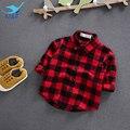 M & f moda blusas confortáveis infantil baby girl clothing top 100% Camisa de algodão Clássico Vermelho e Preto Xadrez Menino Crianças Tee T-shirt