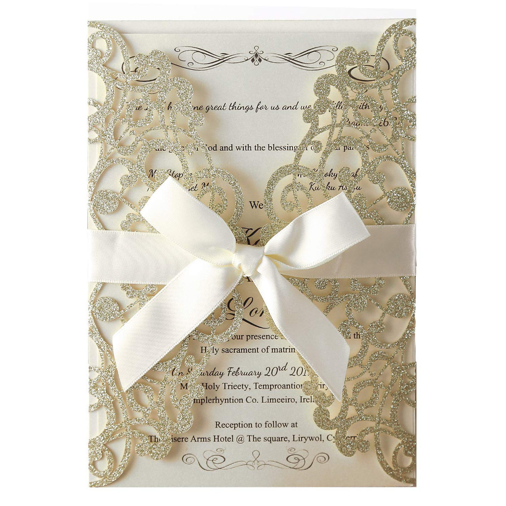 100pcs Champagne Glitter Laser Cut Invitation Cards with Blank Inner Sheets and Envelopes for Wedding Invitations