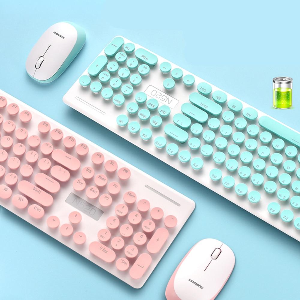 ファッション女性キーボードマウスコンボワイヤレスセット 2.4 ghz 伝送 Usb レシーバー高感度マウスノート Pc の Macbook のための  グループ上の パソコン & オフィス からの キーボード & マウスセット の中 1
