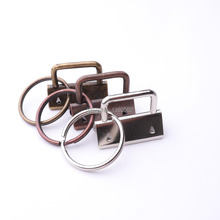 20pcs /lot 32mm copper nickel  bronze color Key Fob Hardware with key ring Split For wrist Wristlets Cotton lanyard