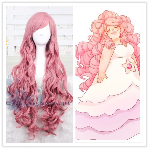 Steven Universe Women Rose Quartz Cosplay Wig Rose Quartz Role Play Long Pink Wavy Hair Wig Costumes