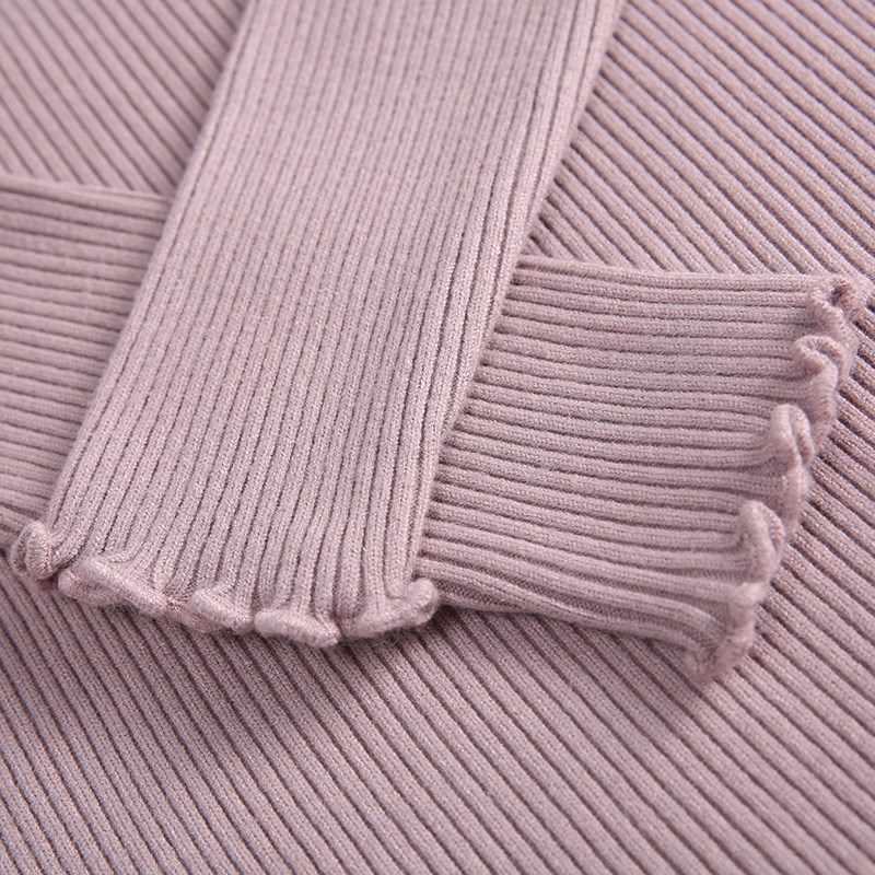 Женский высокоэластичный свитер с рюшками, розовый или белый однотонный тонкий трикотажный сексуальный пуловер с высоким воротом, осенне-зимний сезон 2019