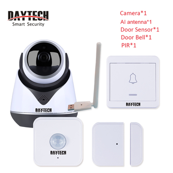 DAYTECH Wireless WiFi Alarm System PIR Door Sensor Alert 1080P Camera Android IOS APP Remote Control Burglar Security System