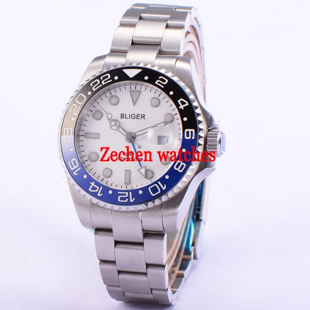 43mm Bliger Luminous hands white dial Sapphire Glass GMT Date Automatic Men Watch Wristwatch цена и фото