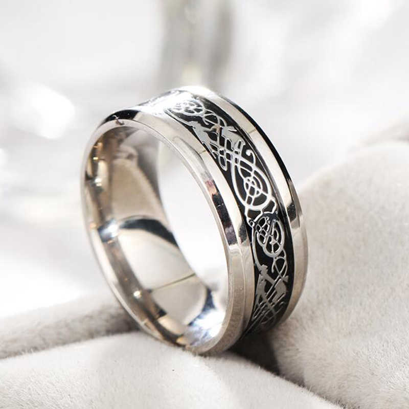 ADOMANER Men's Stainless steel Dragon Pattern Ring Silver Color Titanium Steel Women Rings Chinese Elements Jewelry wholesale.