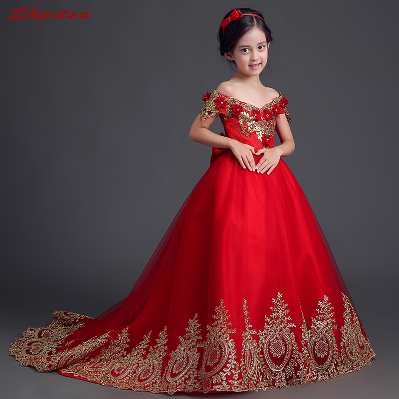 Red   Flower     Girl     Dresses   for Weddings Evening First Communion Pageant   Dresses   for Wedding   Girls   Kid
