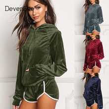 DevenGee Women's Tracksuit Two Piece Set Autumn Winter Sportswear Velvet Hoodie Top Short Pant Outfit Female Sporting Sweat Suit