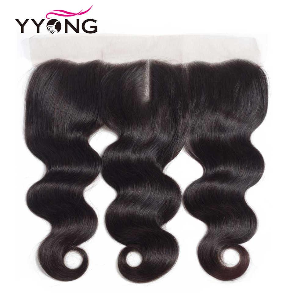 YYong Бразильская волна тела с кружевной фронтальной 100% человеческих волос 4 пучка с 13*4 фронтальной закрытия бесплатно/средний/три части не Реми