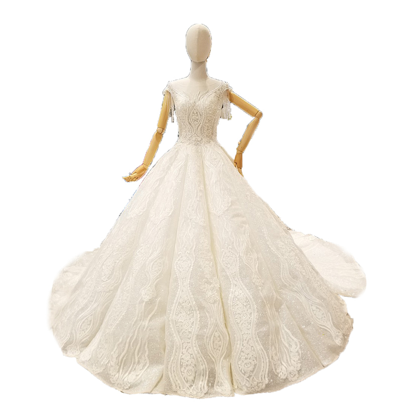 Hot Sale 2018 New Luxury Bling Bling Crystals Lace Wedding Dress ...