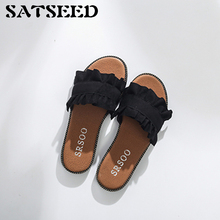 Female Slippers 2017 Summer New Shoes Low All-match Fashion Flowers Flat Slides