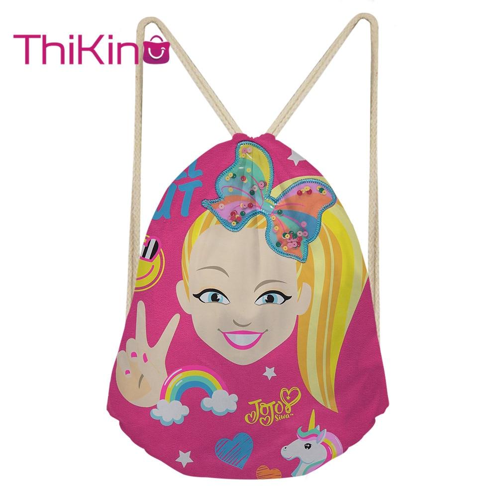 Thikin Jojo Siwa Casual Sack Drawstring Bag For Gorls Women Travel Backpack Toddler Softback Lady Beach Mochila DrawString Bag