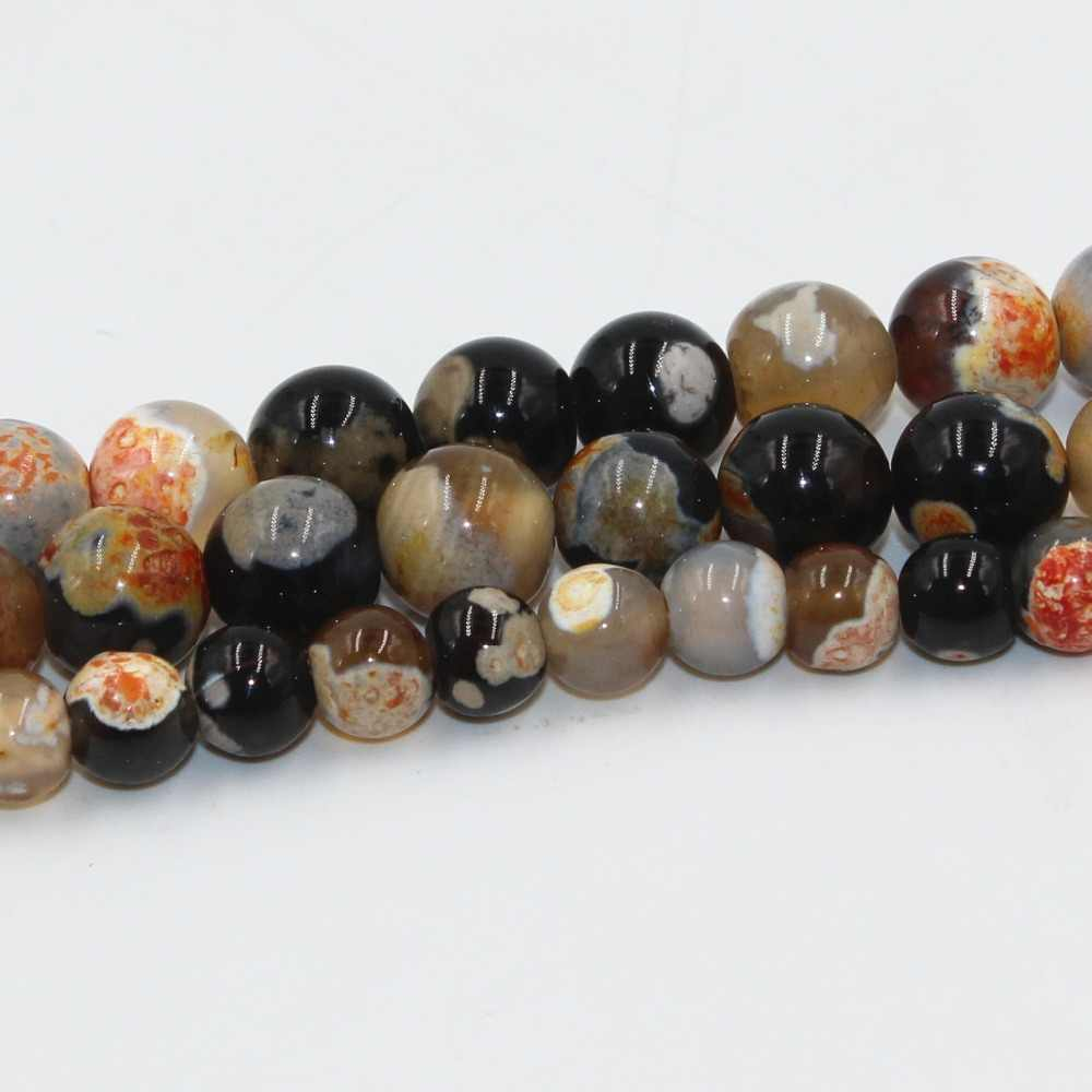 Bonita piedra redonda suelta de ágata de fuego naranja soplada, cuentas de 6mm/8mm/10mm, accesorios para ropa DIY, accesorios de joyería