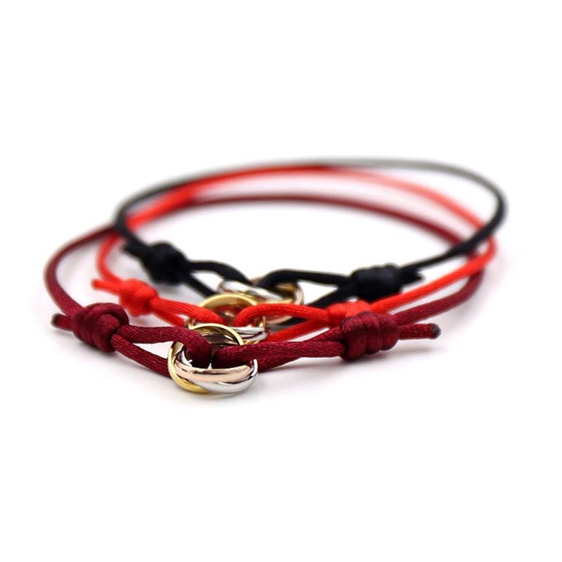 316L Stainless Steel mix three color carter love bracelets&bangles rope h bracelets for women men couple fashion bijoux pulseira